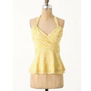 Yellow Anthropologie Summer Halter Top